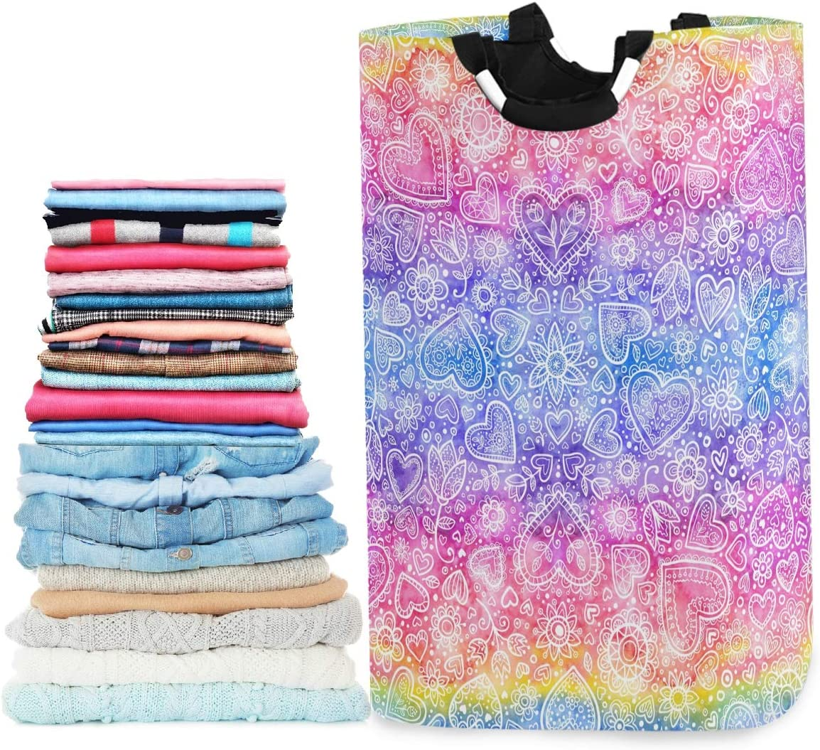 visesunny Collapsible Laundry Basket Heart Rainbow Large Laundry Hamper Oxford Fabric Dirty Clothes Toy Organizer with Handle for Bathroom Kids Room Dorm