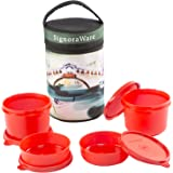 Signoraware Venice Executive Big Lunch Box with Bag Set, 4-Pieces, Deep Red