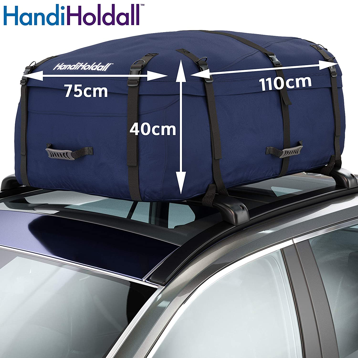 253939cf2db19 HandiHoldall Large Vehicle Roof Bag / Top Box (Navy Blue) – 330L Weather  Resistant Cargo Carrier