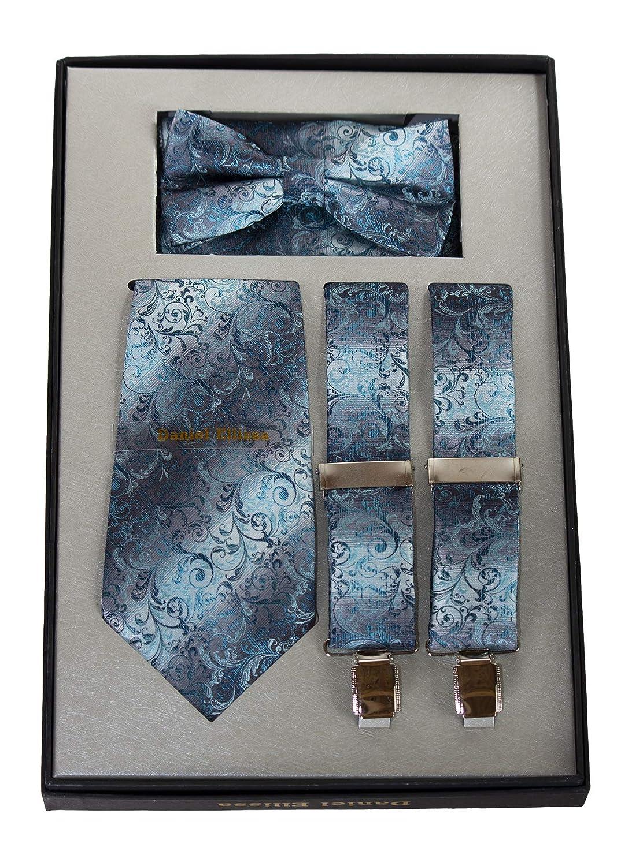Men/'s Neck Tie Suspenders /& Pocket Square Set in Gift Box Bow Tie