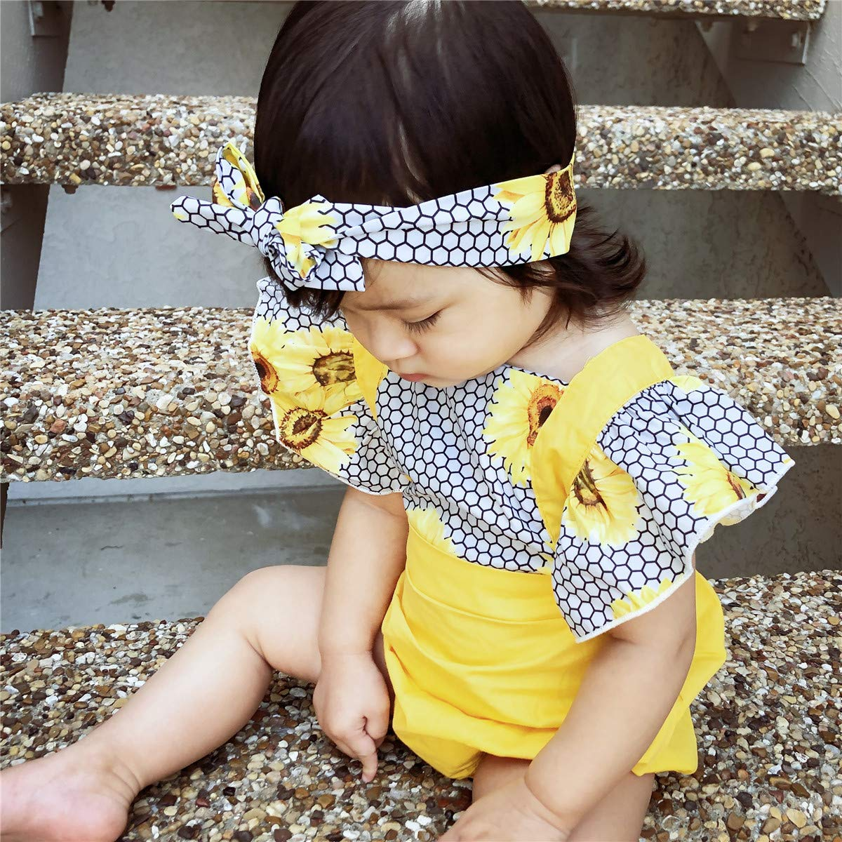 SS COLOR FISH Sunflower Baby Girl Outfits 6-12 Months Baby Girl Romper Infant Romper Girl Yellow
