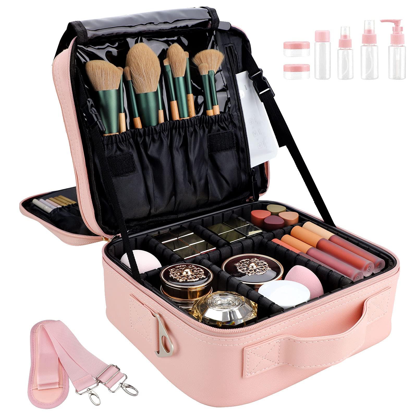OEWOER Travel Makeup Bag 10.2 Makeup Organizer Case Portable Makeup Train Case