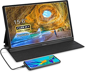Portable Monitor 15.6 Inch Computer Display Ultra Slim IPS Gaming Monitor, with HDMI/USB Type-C Port and Protect Support Case, 178° Full View for PC Laptop MAC PS4 Xbox Raspberry pi Phone Nintendo