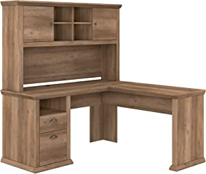 Bush Furniture Yorktown L Shaped Desk with Hutch, 60W, Reclaimed Pine