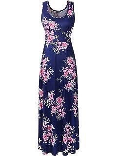 02570cc02798 Luckco Women s Sleeveless Floral Print Causal Long Maxi Beach Tank Dresses