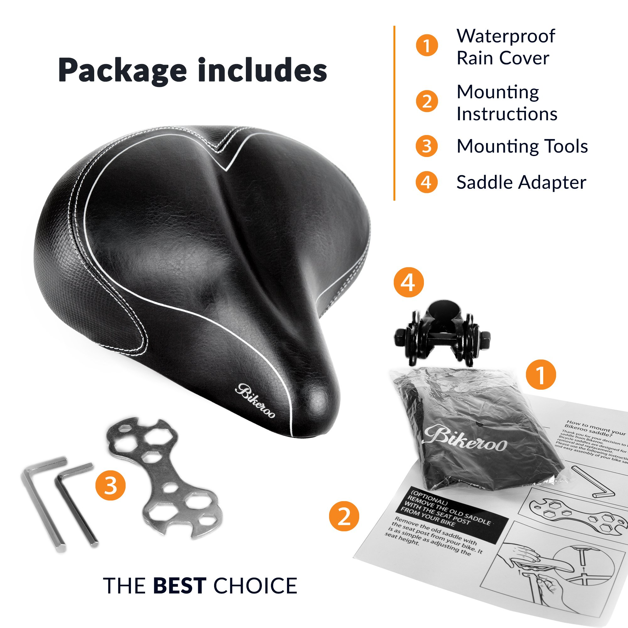 Bikeroo Oversized Comfort Bike Seat Most Comfortable Replacement Bicycle Saddle - Universal Fit for Exercise Bike and Outdoor Bikes - Wide Soft Padded Bike Saddle for Women and Men by Bikeroo (Image #6)