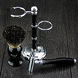 Lusso Wet Shaving kit Gift set–Rasoio di sicurezza, pennello da barba, supporto