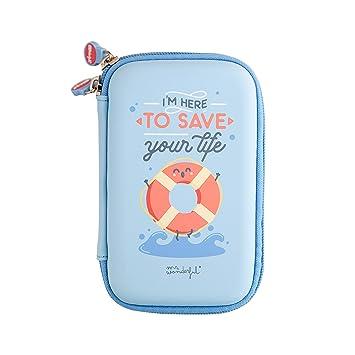 Mr Wonderful Funda Rígida de Disco Duro de 2,5 Pulgadas - con Diseño Im Here to Save Your Life, Azul y Turquesa