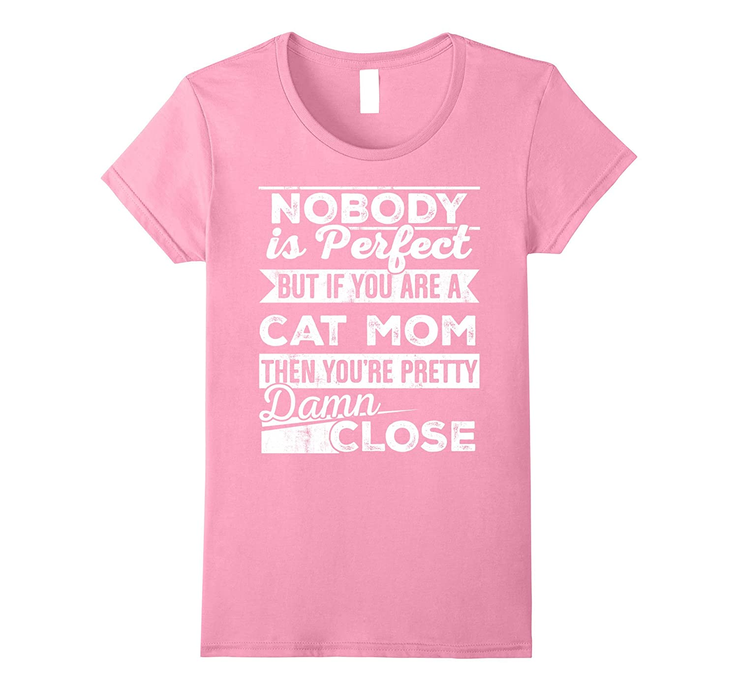 Womens Vintage Distressed Typography Cat Mom T-Shirt Gift Ideas-FL