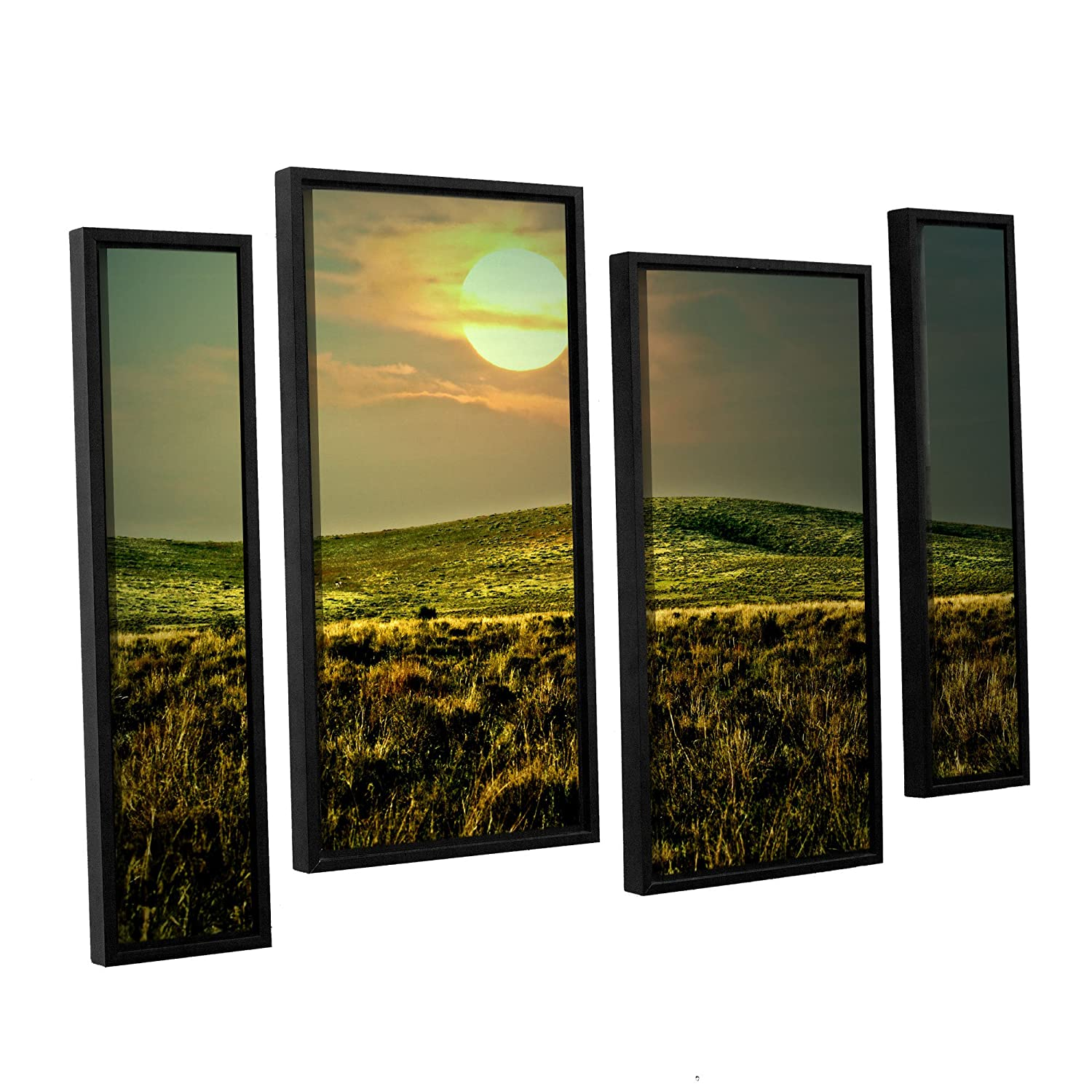 24 by 36 ArtWall Michael Creeses Atahualpa SunSet 4 Piece Floater Framed Canvas Staggered Set