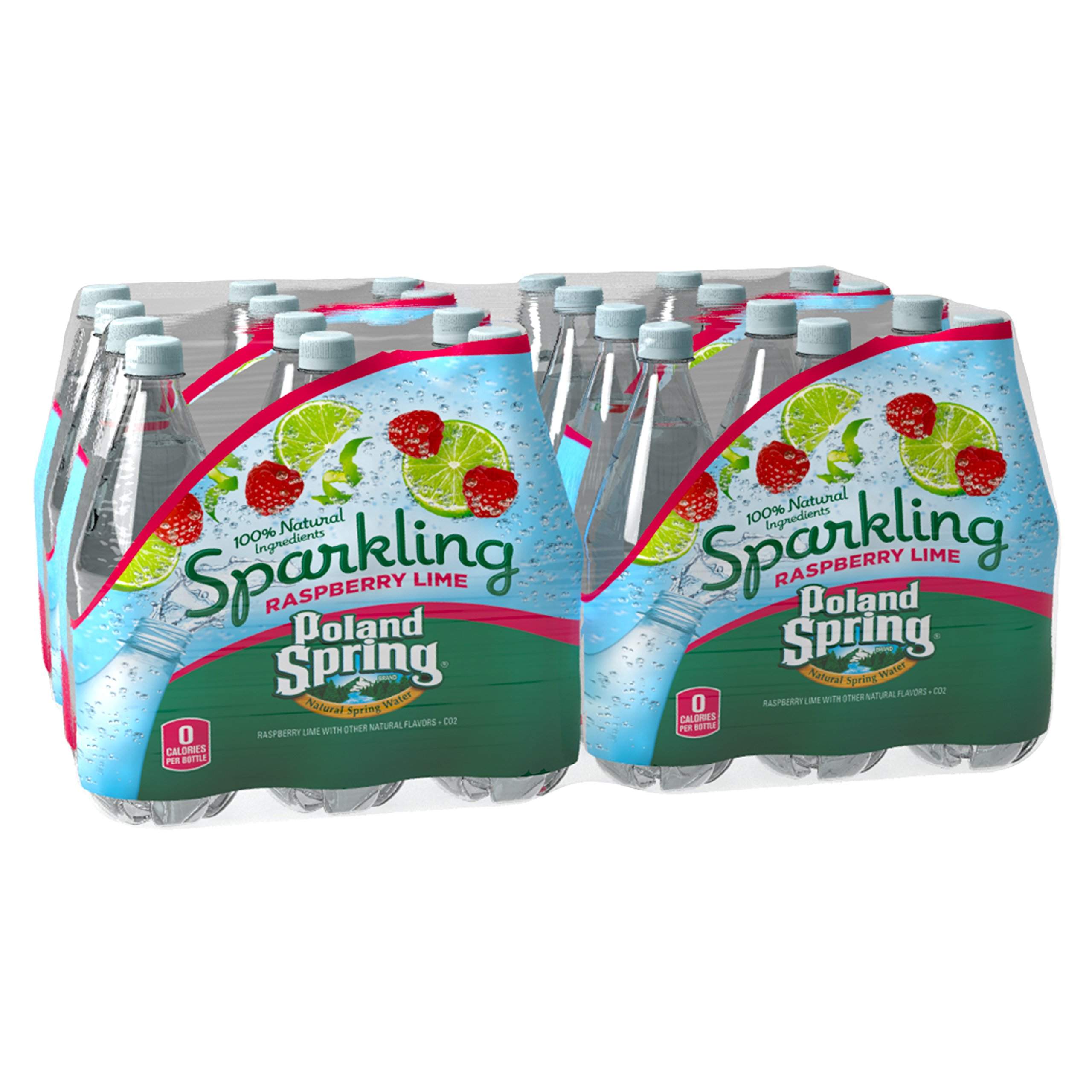 Poland Spring Sparkling Natural Spring Water, Raspberry Lime 16.9-ounce plastic bottles, 24 Count by Poland Spring
