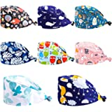 Taicanon 8pcs Cute Printed Medical Doctor Working Cap with Sweatband Adjustable Bouffant Hats for Women Men
