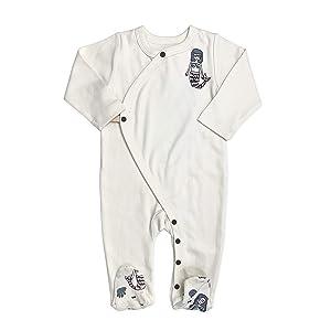 Finn + Emma Organic Cotton Baby Footie Pajama - Ivory White Mermaids, 3-6 Months