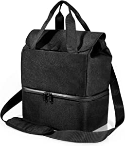 Insulated Lunch Bag, Leakproof Reusable Large Capacity Bag with Adjustable Shoulder Strap, 2 Compartment Lunch Box for Office Picnic Camping Hiking Outdoor Beach, Black