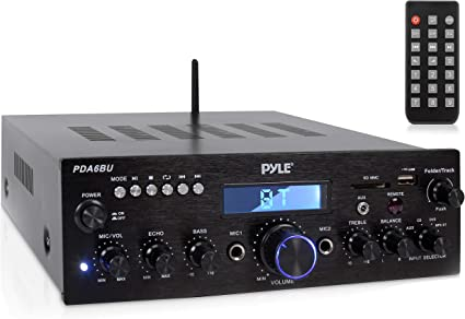 Pyle – Amplificador estéreo Bluetooth Receptor [Compacto Digital de Cine en casa Sistema de Audio] con transmisión inalámbrica | Radio | MP3 FM/USB/SD ...