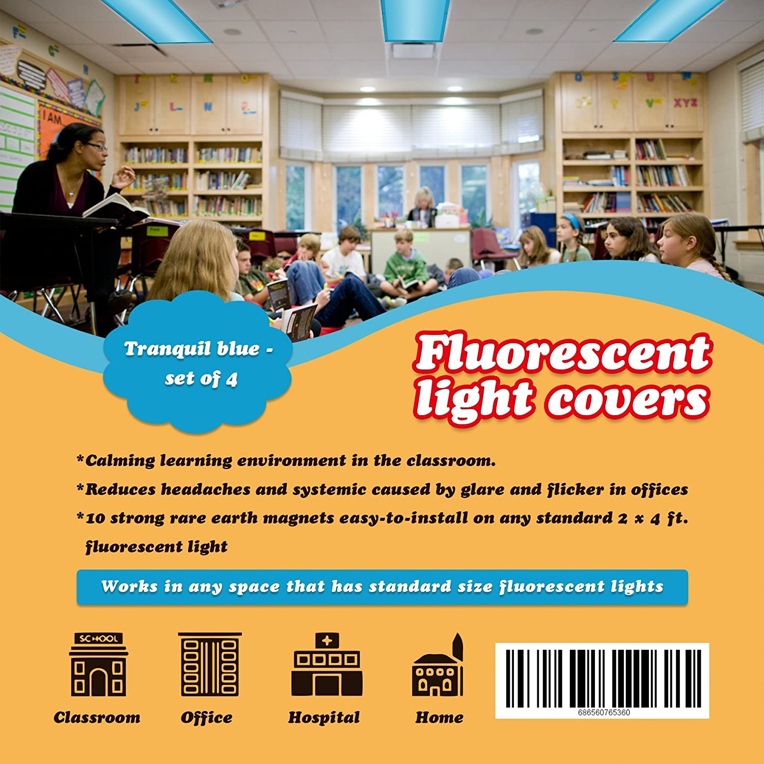 Fluorescent Light Cover (4 pack; tranquil blue). Flame-Retardant Fabric, 10 Strong Rare Earth Magnets, Flame Retardant Certification, Reducing Glare Harsh Flicker, Used in Classroom, Home, Office