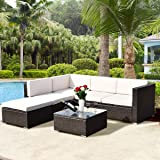 TANGKULA 4 Piece Outdoor Patio Furniture Set Garden Poolside Lawn Backyard Wicker Rattan Sectional Sofa Sets, 2 Loveseats with One Arm and Glass Top Coffee Table Conversation Set