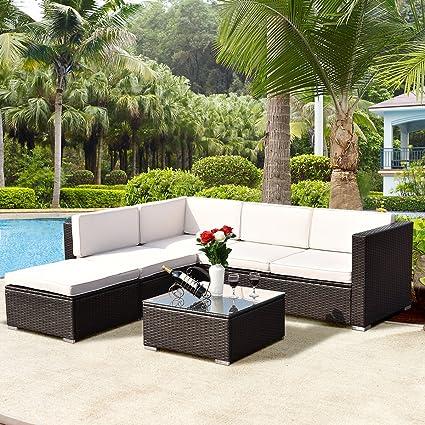 Good TANGKULA 4 Piece Outdoor Patio Furniture Set Garden Poolside Lawn Backyard  Wicker Rattan Sectional Sofa Sets