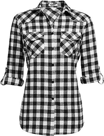 Ericcay Camisa A Cuadros Blusa Camisa De La Verificación De ...