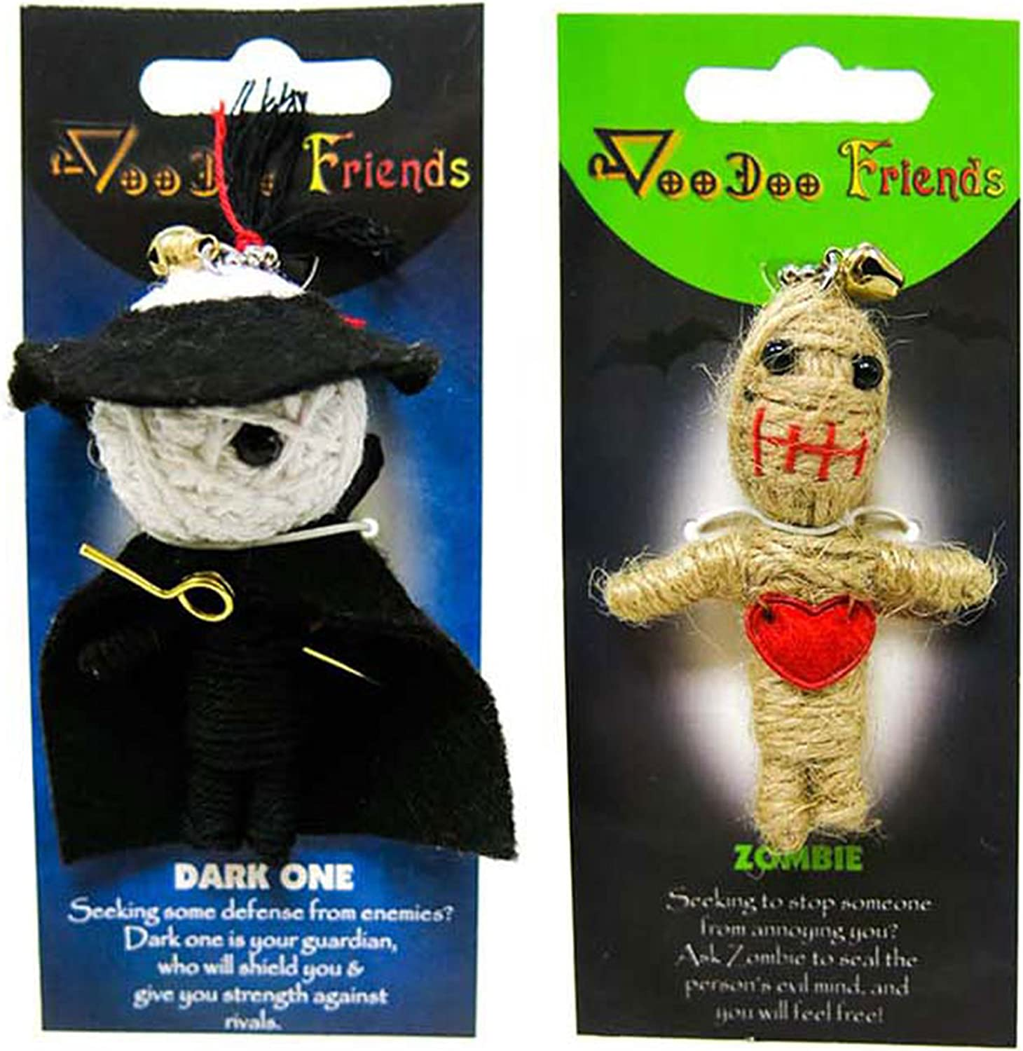 FROG SAC Voodoo Dolls Set of 2 - Yarn String Doll Great as Keychain, Charm for Purse, Backpacks, Office Accessories - Great Gifts (Dark One & Zombie)