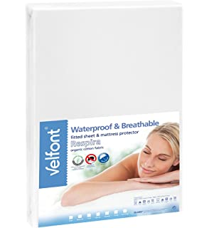 velfont premium 2 in 1 100 organic combed cotton waterproof and breathable white fitted