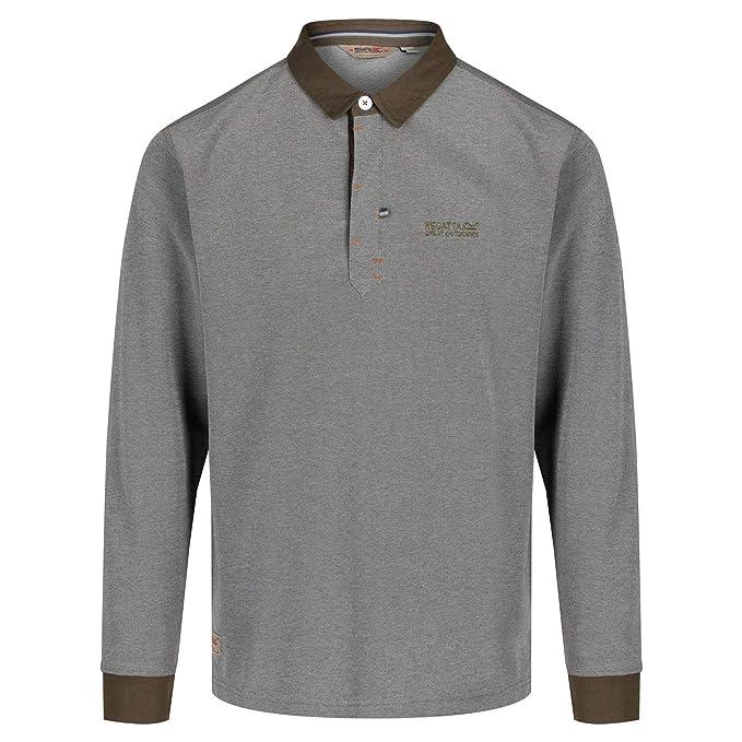 Hombre Regatta Panos Jersey Collar Button Neck Long Sleeve Polo