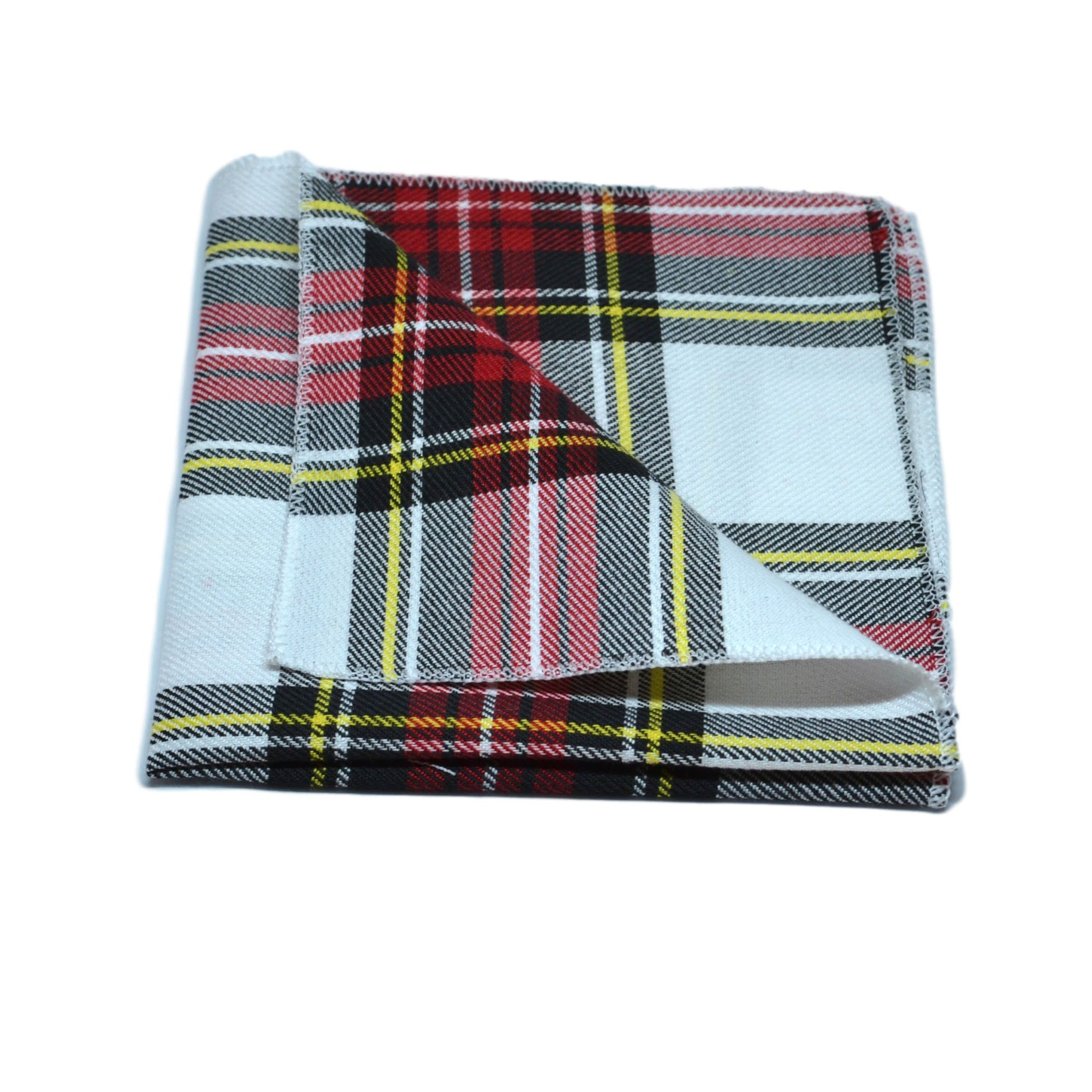 Traditional White & Red Tartan Pocket Square, Handkerchief, Check, Plaid