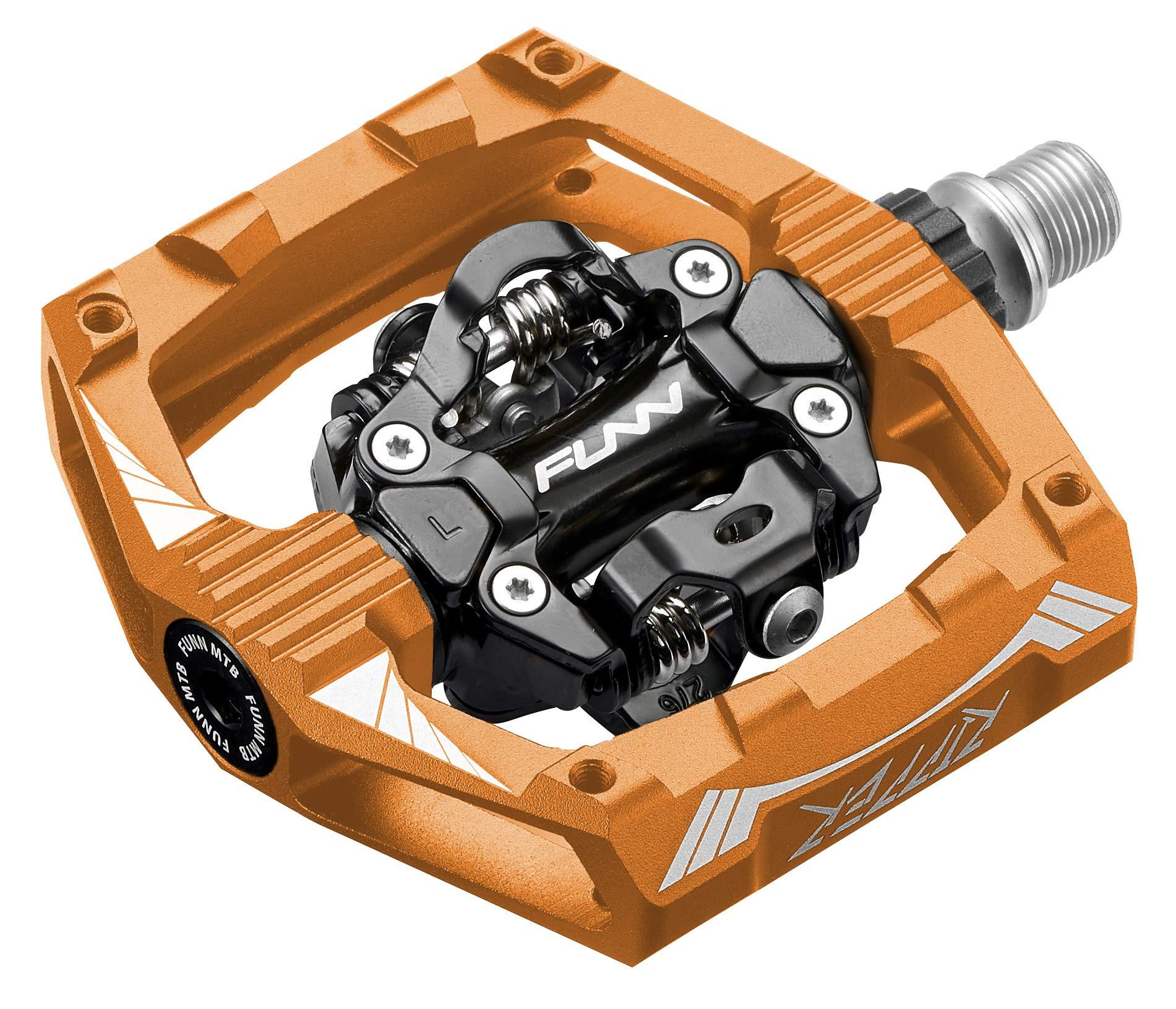 Funn Ripper Clipless Pedal Set, Rocker Clip Mechanism, SPD Compatible (Orange)