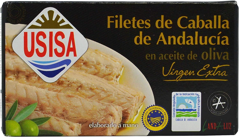 Usisa, Filetes de Caballa de Andalucia en aceite de oliva virgen extra - 5 latas