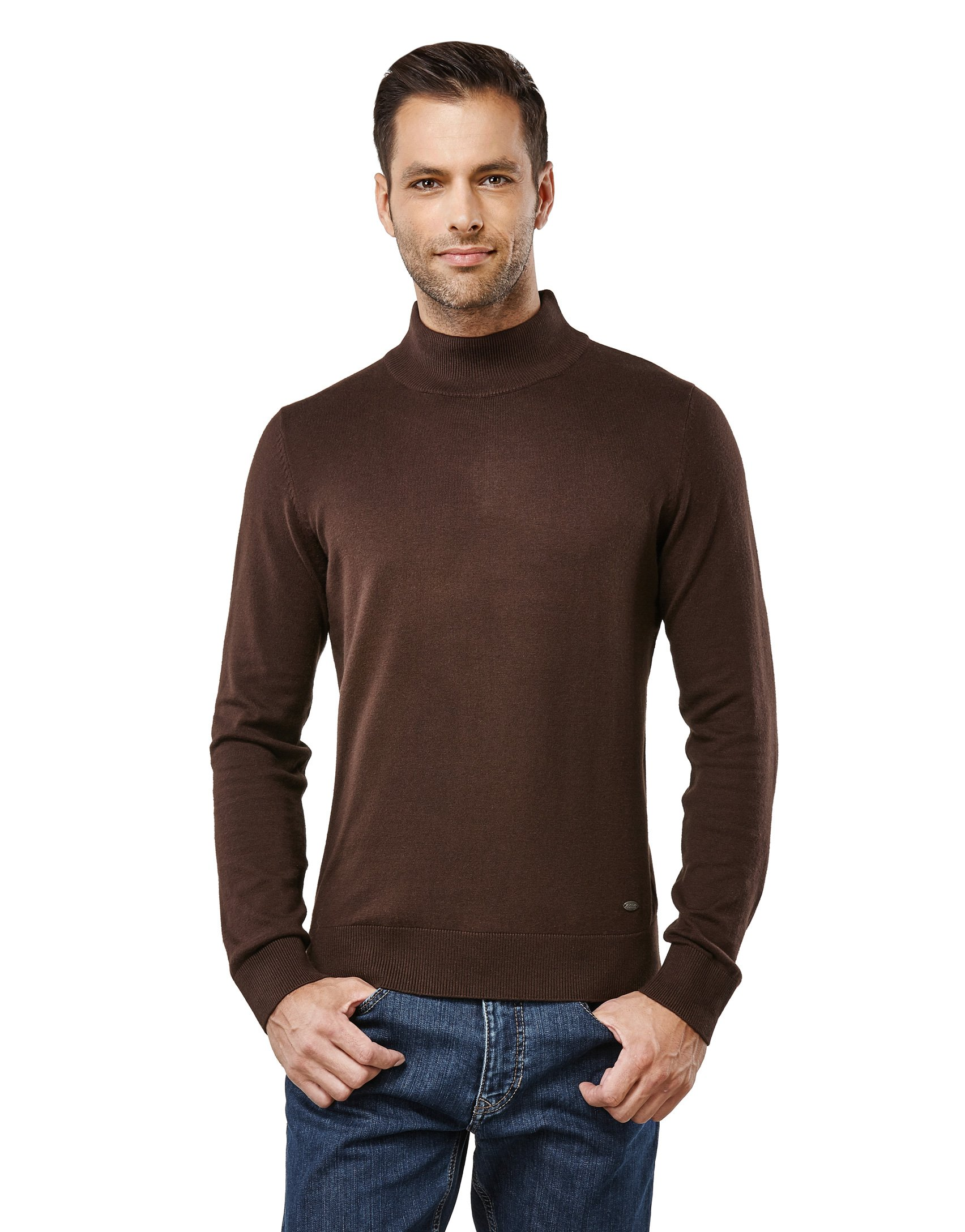 Vincenzo Boretti Men's Sweater with ribbed turtle-neck, slim-fit,brown,Large