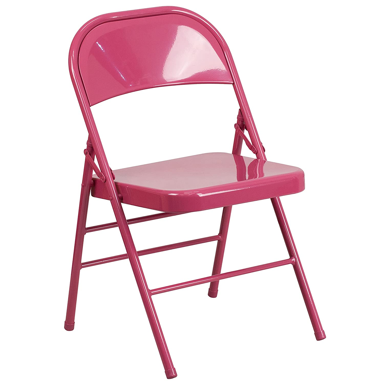 Flash Furniture HERCULES COLORBURST Series Bubblegum Pink Triple Braced & Double Hinged Metal Folding Chair HF3-PINK-GG