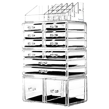 Readaeer Makeup Cosmetic Organizer Storage Drawers Display Boxes Case with  12 Drawers(Clear)