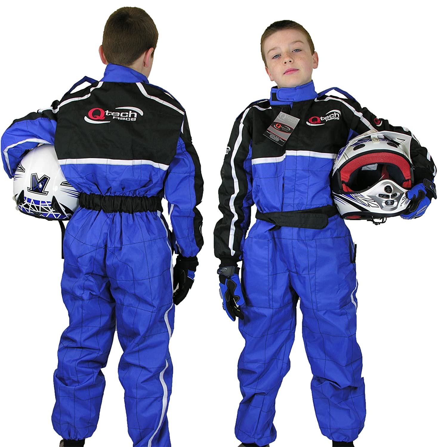 Medium Qtech Childrens Racing Suit Limited Edition for kids Motocross ATV Karting and General Usage with Ankle Cuffs Blue