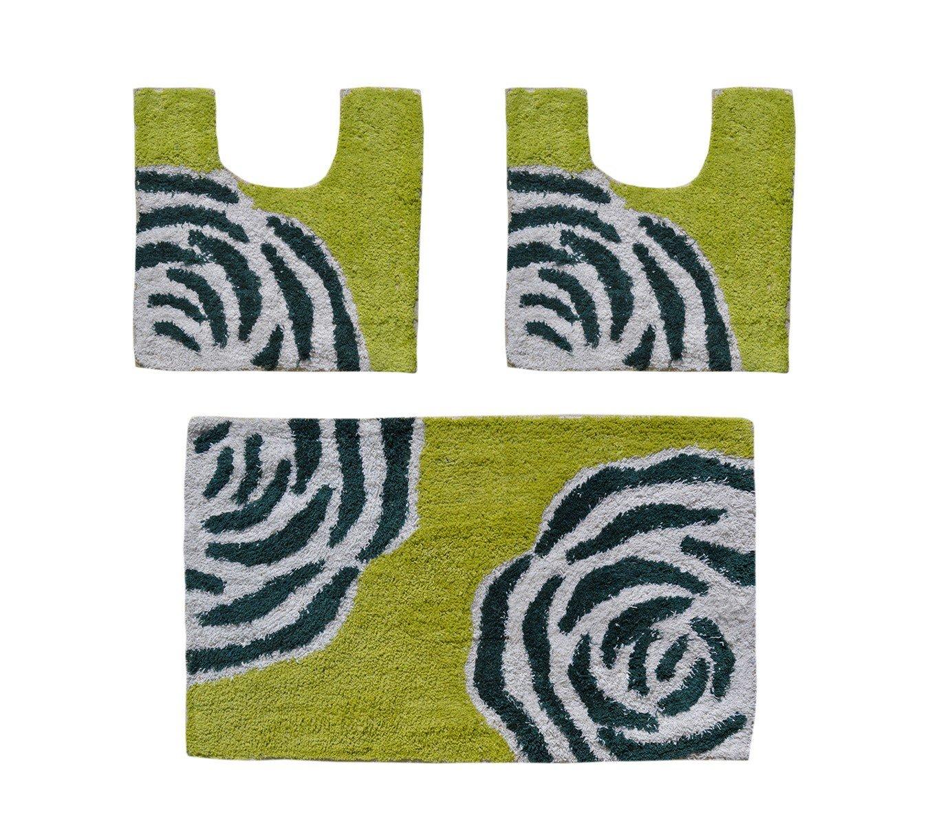 Verde MWS Set in coordinato di 3 pz tappetini per il bagno FLOW arredamento bagno
