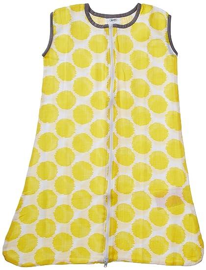 bacati mantas de muselina, diseño de puntos portátil saco de dormir, amarillo/gris