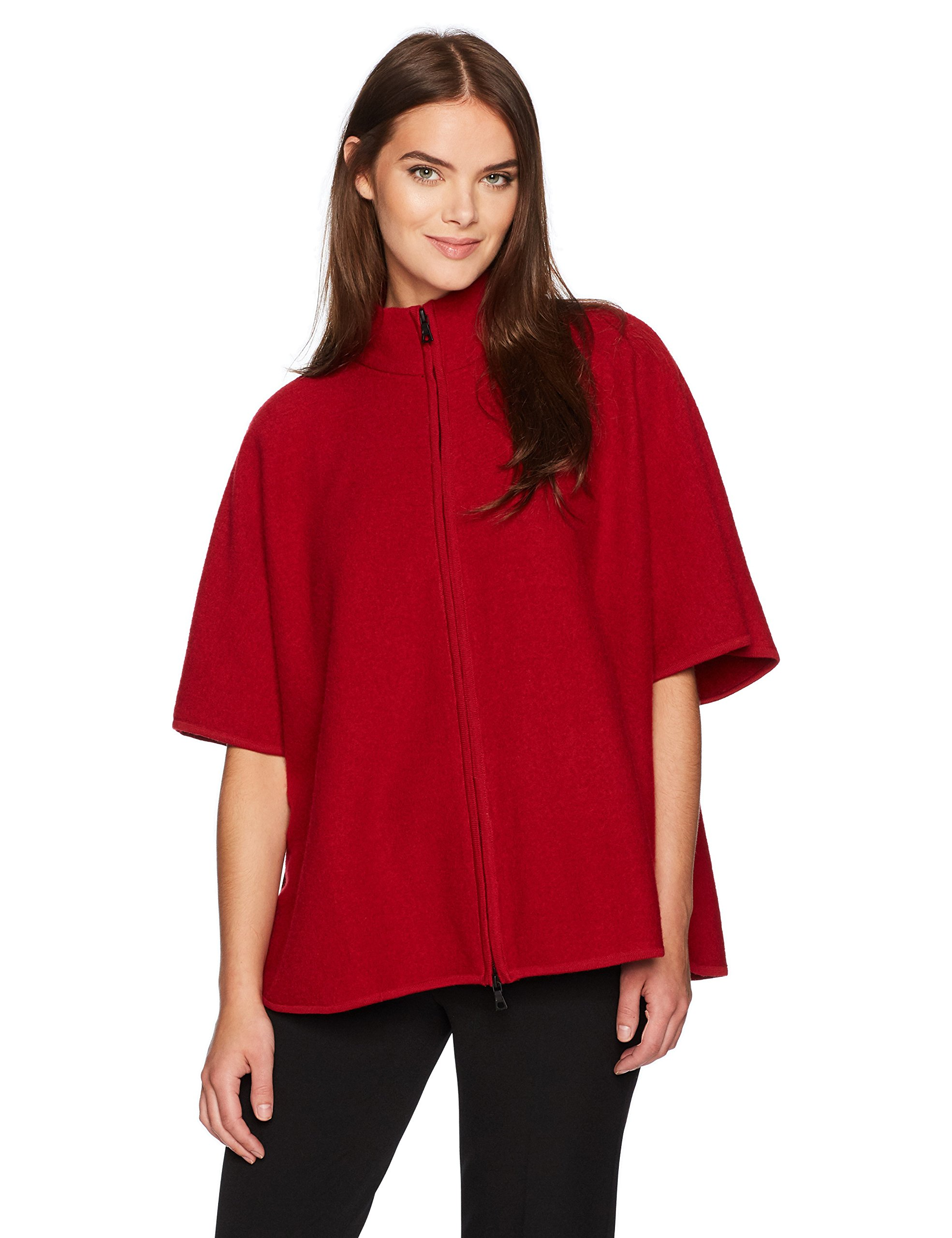 Anne Klein Women's Zip Front Boiled Wool Cape, Titian Red, XS