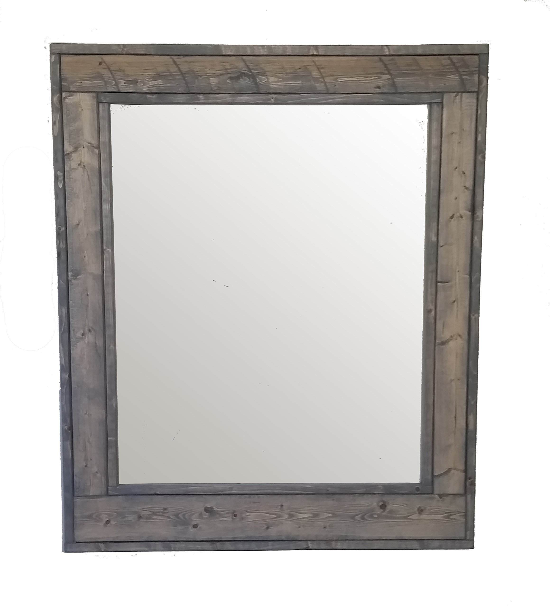 Renewed Decor Herringbone 30 x 36 inches Vertical Framed Mirror Stained in Classic Gray - Reclaimed Wood Mirror - Large Wall Mirror - Rustic Modern Home - Home Decor - Mirror - Housewares