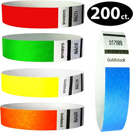 """PAPER WRISTBANDS PAPER ARM BANDS 200 3//4/"""" RED TYVEK WRISTBANDS"""