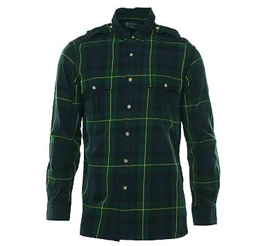 82ed38444 Amazon.com  Polo Ralph Lauren Men s Custom Fit Plaid Military Shirt ...