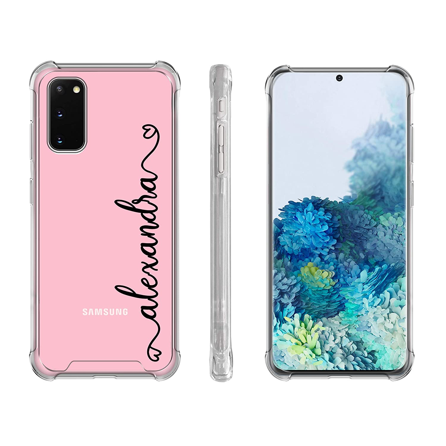 Galaxy S9 Plus Case Personalized Case For Samsung S9 S8 Case Custom Name Initials Monogrammed Clear Phone Handwriting Shockproof Protective Cover U3