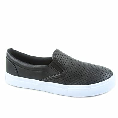 SODA Tracer-S Women s Cute Perforated Slip On Flat Round Toe Sneaker  Shoes a4109b2c96c6