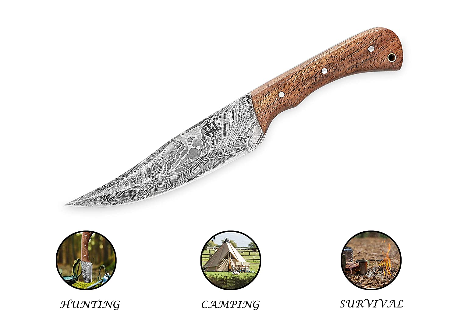 Hobby Hut HH-402, 11 inch Bushcraft Damascus Steel Fixed Blade Knife|Hunting Knife, Walnut Wood Handle|Leather Sheath|Full Tang| Outdoor Razor Sharp ...
