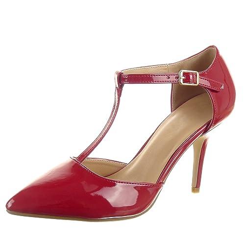 Scarpe Stiletto 88 Cm Alto Rosso Mt 41 Moda Cinturino it Lucide Caviglia Da Decollete Tacco Sopily Alla Donna T Frf 9 Amazon d4qId
