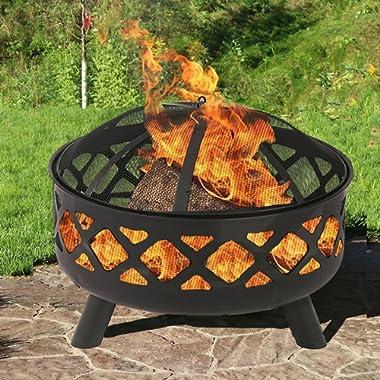 BestMassage 25  Fire Pit Portable Outdoor Firepit Wood Fireplace Heater Patio Deck Yard