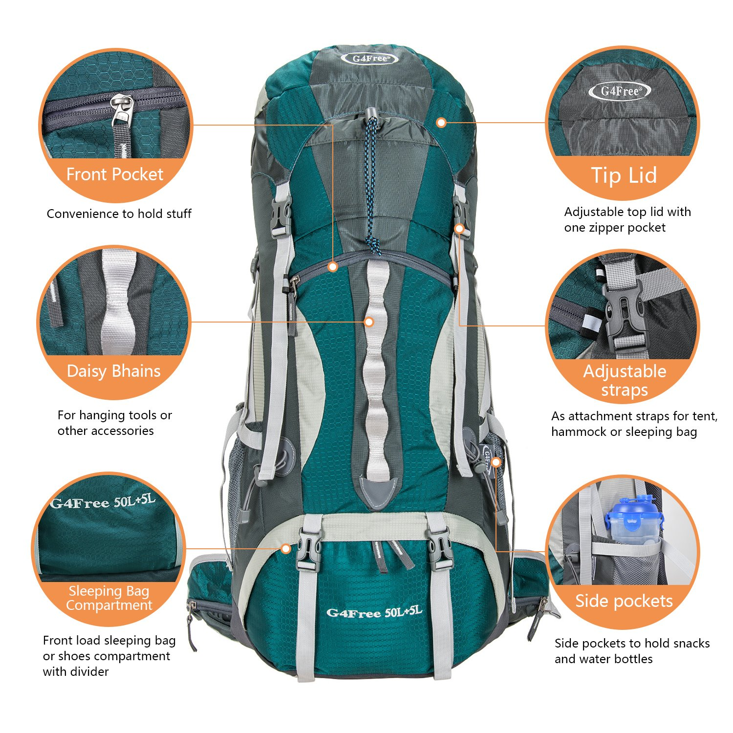 10beb21db8 Amazon.com   G4Free 50L+5L Outdoor Sport Water-resistant Hiking Backpacks  Internal Frame Backpacking Backpack Camping Bag with Rain Cover for Women  Men ...