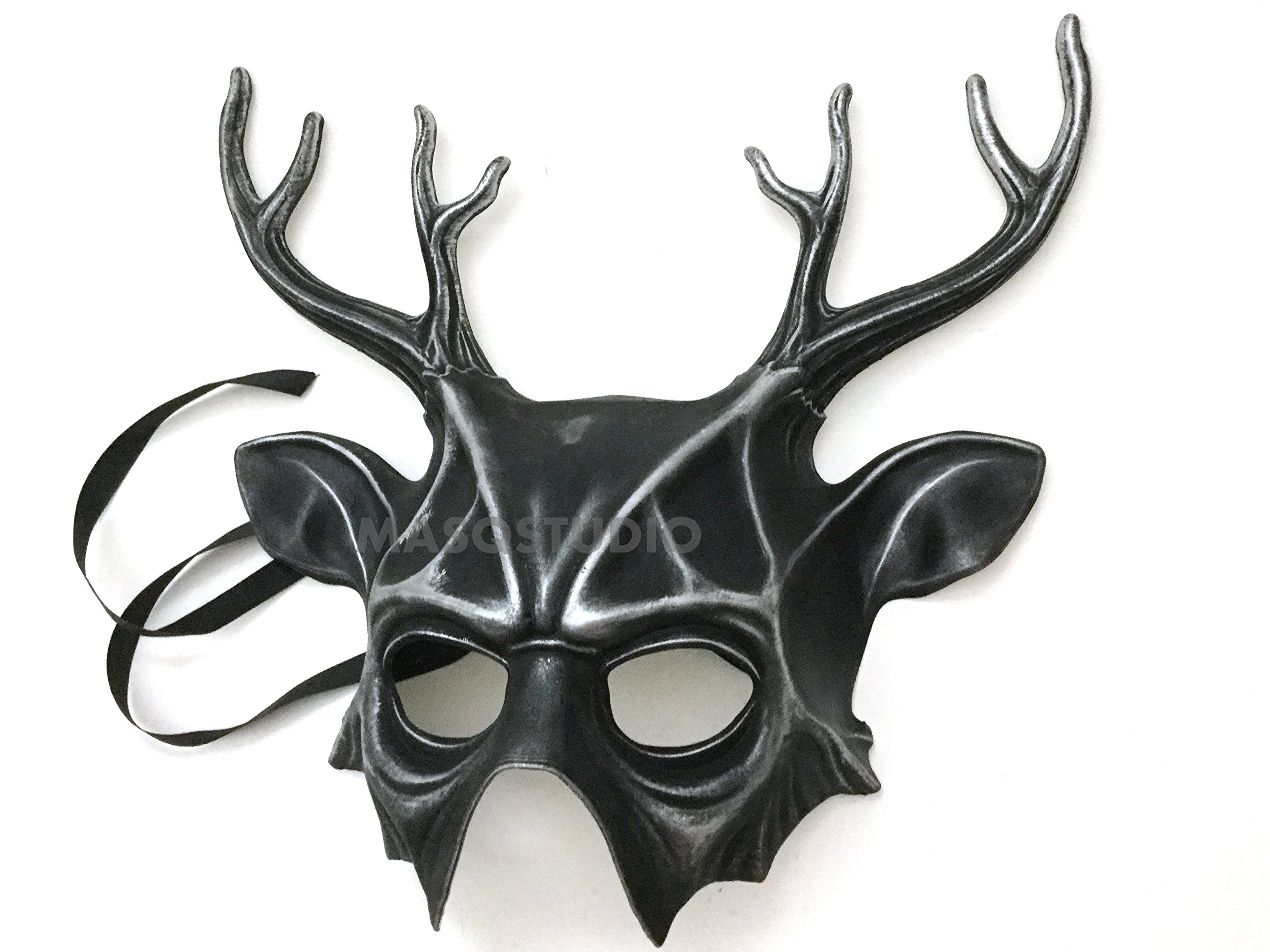 Horned Deer Mask Animal Masquerade Halloween Cosplay Haunted House party mask Art Wall Deco (Silver)