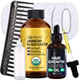 Jamaican Black Castor Oil for Hair Growth and Skin Conditioning - 100% Cold-Pressed 4oz Bottle (1 COMPLETE KIT)