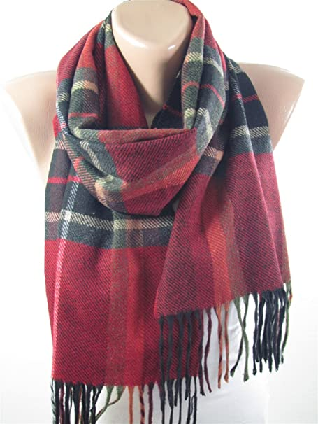 plaid scarf winter scarf red flannel scarf holiday christmas gifts for her him - Christmas Plaid Scarf