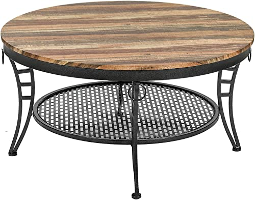 IRONCK Industrial Round Coffee Table for Living Room, Round Cocktail Table with Storage, Sturdy Curved Legs, Eco-Friendly MDF Board, Vintage Brown