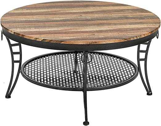Amazon Com Ironck Industrial Round Coffee Table For Living Room